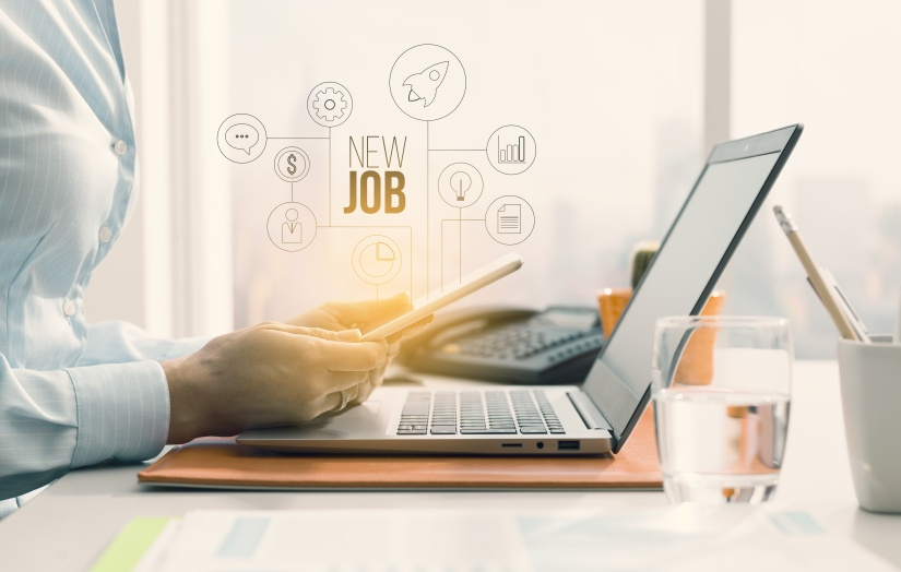 Business woman searching job opportunities online